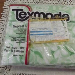 Texmade Flat Twin Size Bed Sheet NOS Vintage 1960